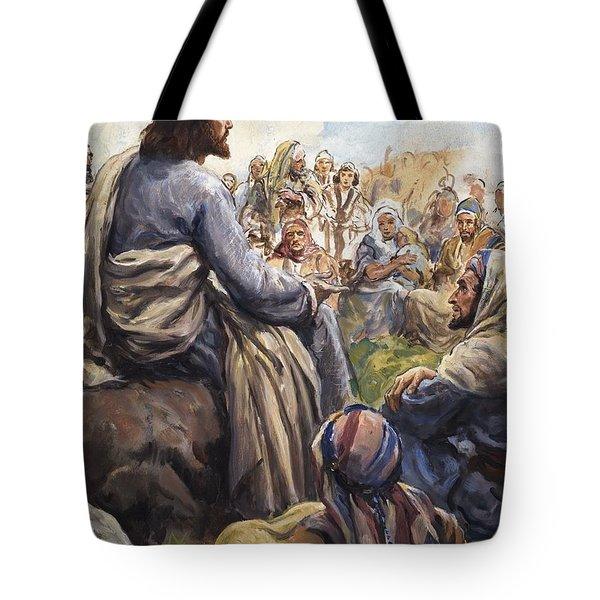 Christ Teaching Tote Bag by English School