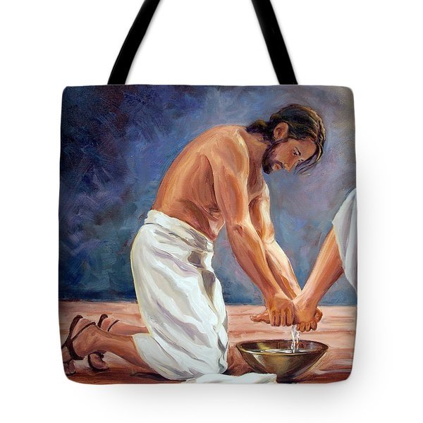 Christ The Servant Tote Bag by Laura Bates