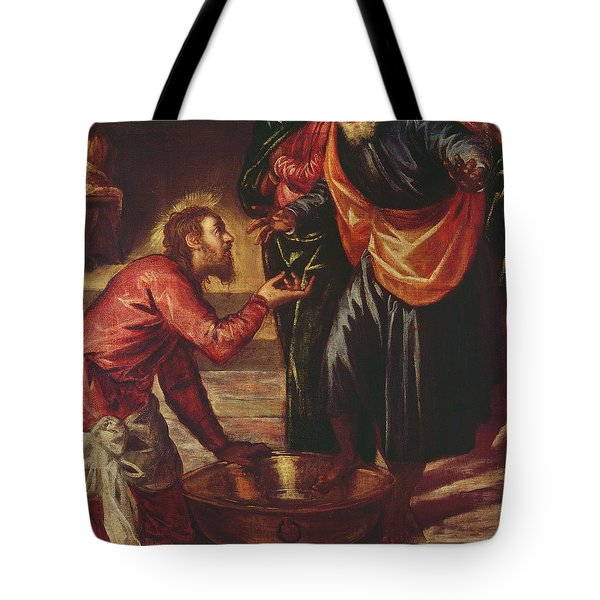 Christ Washing The Feet Of The Disciples Tote Bag by Tintoretto