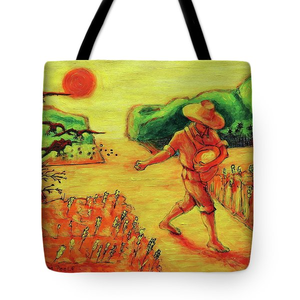 Tote Bag featuring the painting Christian Art Parable Of The Sower Artwork T Bertram Poole by Thomas Bertram POOLE
