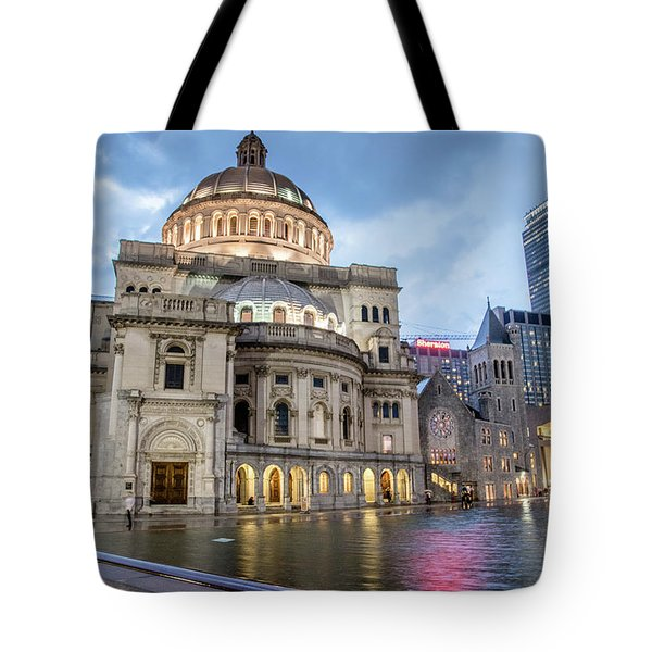 Christian Science Center In Boston Tote Bag by Peter Ciro