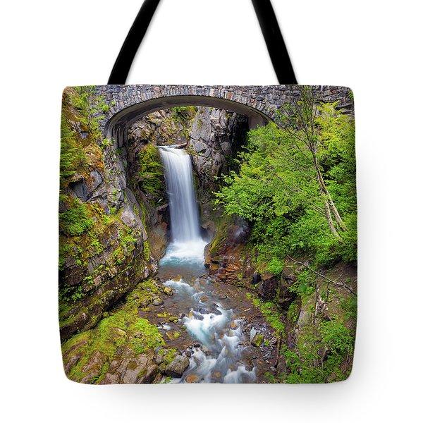 Christine Falls Under Bridge In Mt Rainier National Park Tote Bag