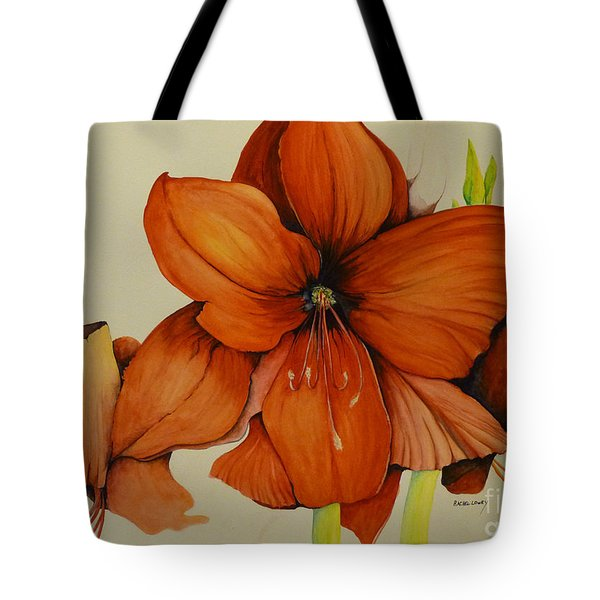 Tote Bag featuring the painting Christmas Amaryllis by Rachel Lowry