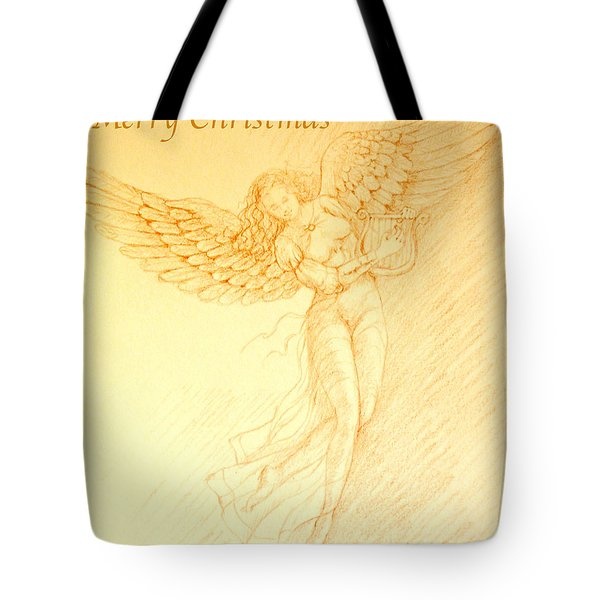Christmas Angel With Harp Tote Bag