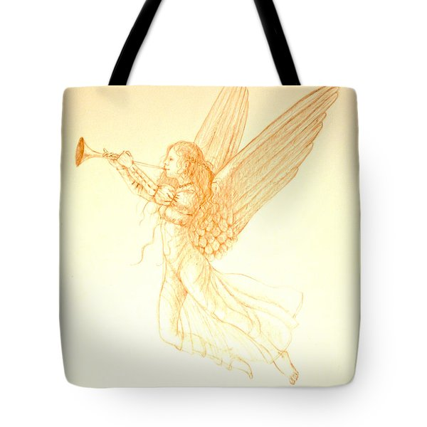 Christmas Angel With Trumpet Tote Bag