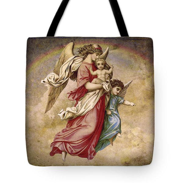 Christmas Angels And Baby Tote Bag