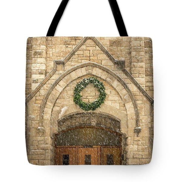 Christmas At Stone Chapel Tote Bag
