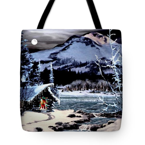 Christmas At The Lake V2 Tote Bag by Ron Chambers