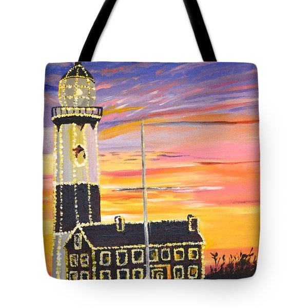 Christmas At The Lighthouse Tote Bag by Donna Blossom