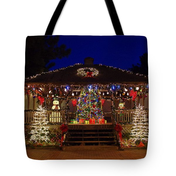 Christmas At The Lighthouse Gazebo Tote Bag