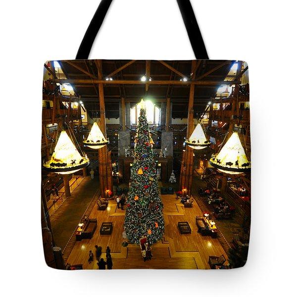 Christmas At The Lodge Tote Bag