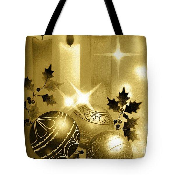 Christmas Balls And Candles Black And Gold Tote Bag
