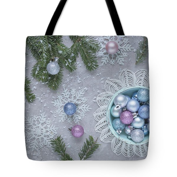 Tote Bag featuring the photograph Christmas Baubles And Snowflakes by Kim Hojnacki