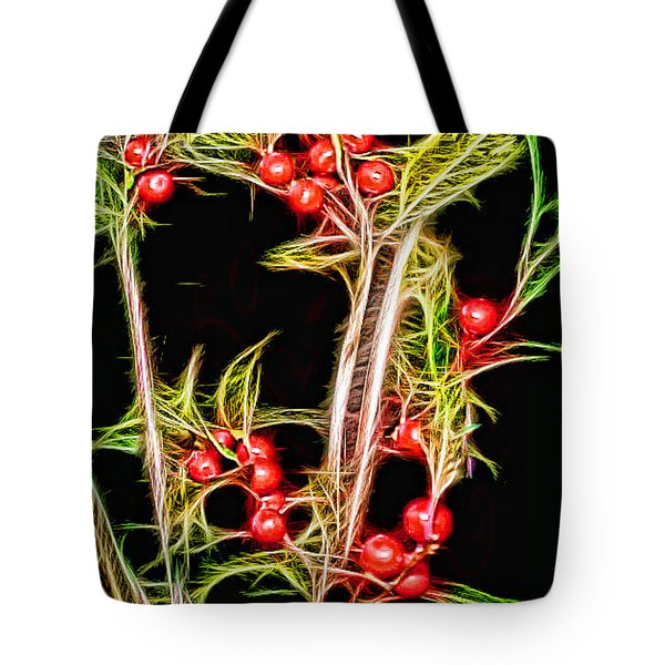 Tote Bag featuring the photograph Christmas Berries by EricaMaxine  Price
