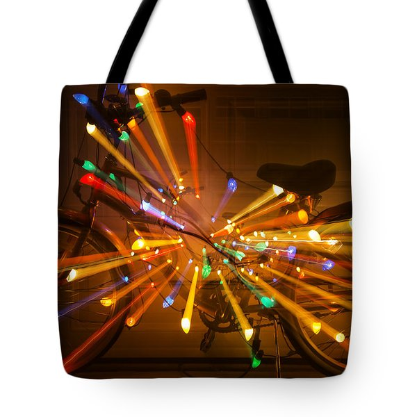 Christmas Bike Abstract Tote Bag