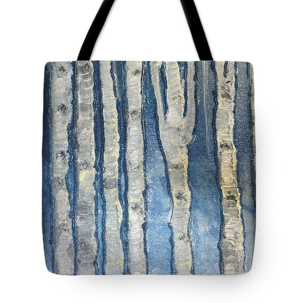 Tote Bag featuring the painting Christmas Birches by Paula Brown