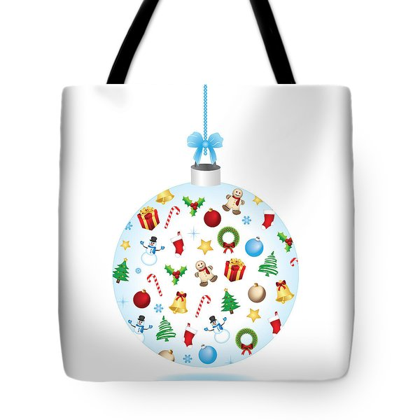 Christmas Bulb Art And Greeting Card Tote Bag
