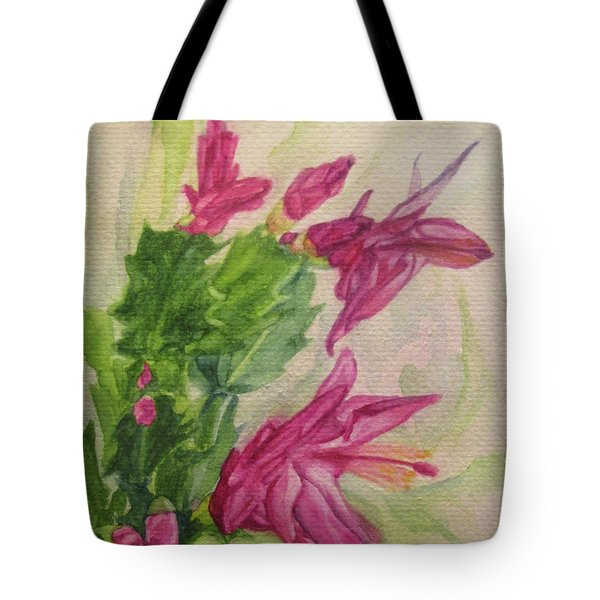 Christmas Cactus Tote Bag by Wendy Shoults