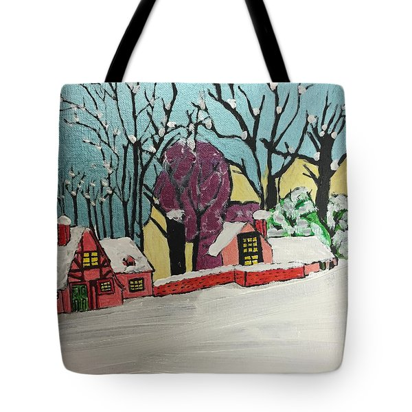 Tote Bag featuring the painting Christmas Card by Paula Brown