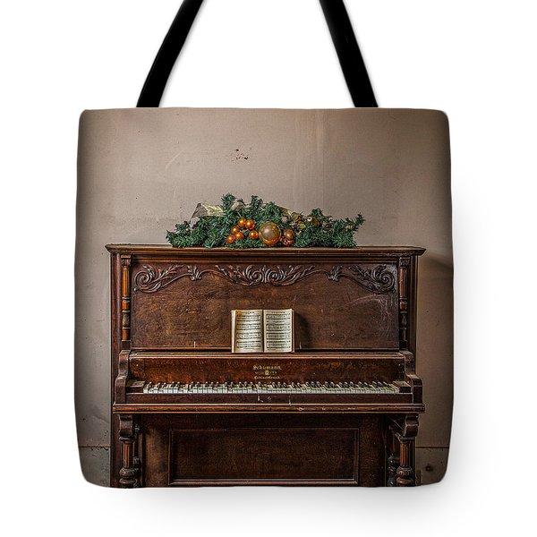 Christmas Card With Piano In Old Church Tote Bag
