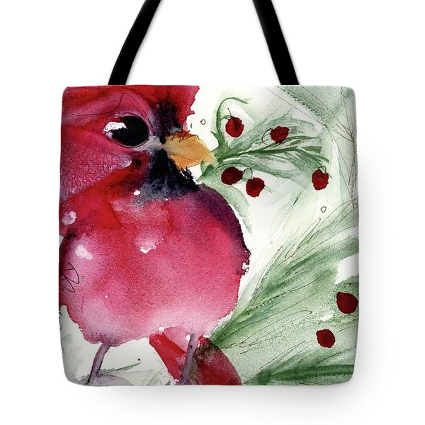 Tote Bag featuring the painting Christmas Cardinal by Dawn Derman