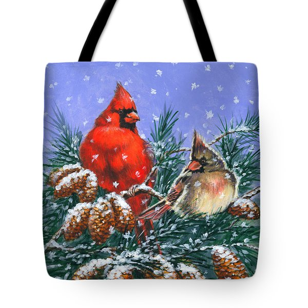 Christmas Cardinals #1 Tote Bag
