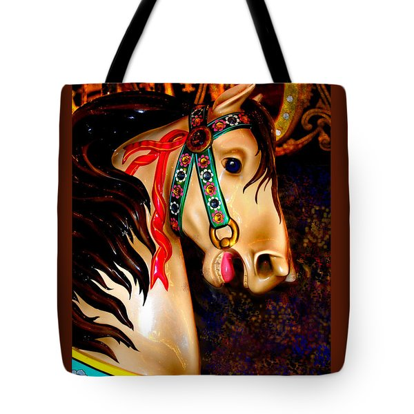 Christmas Carousel Horse Tote Bag