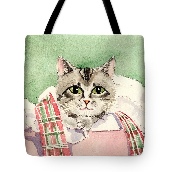 Christmas Cat Tote Bag by Arline Wagner