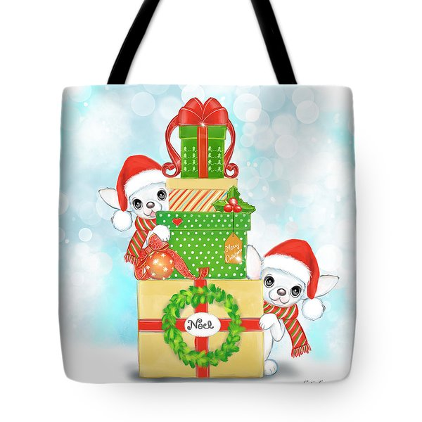 Tote Bag featuring the painting Christmas Chi Elves by Catia Lee