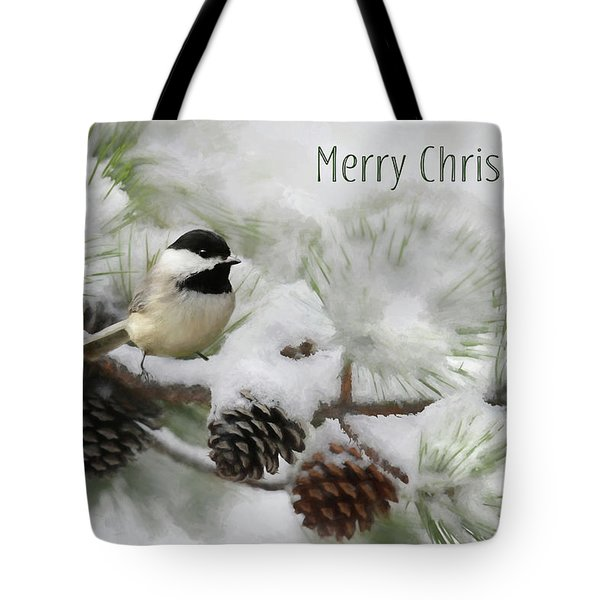 Tote Bag featuring the photograph Christmas Chickadee by Lori Deiter