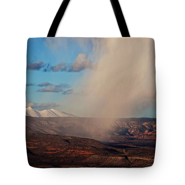 Christmas Day Snow Mix San Francisco Peaks Tote Bag by Ron Chilston