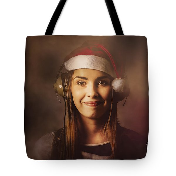 Tote Bag featuring the photograph Christmas Disco Dj Woman by Jorgo Photography - Wall Art Gallery