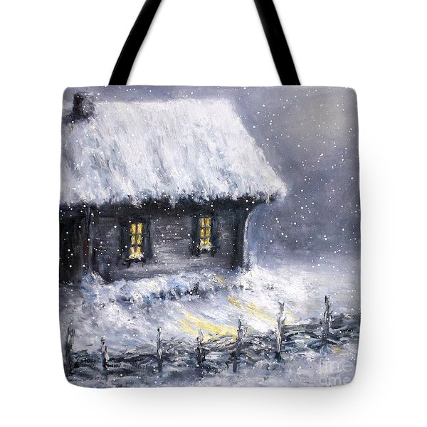 Tote Bag featuring the painting Christmas Eve by Arturas Slapsys