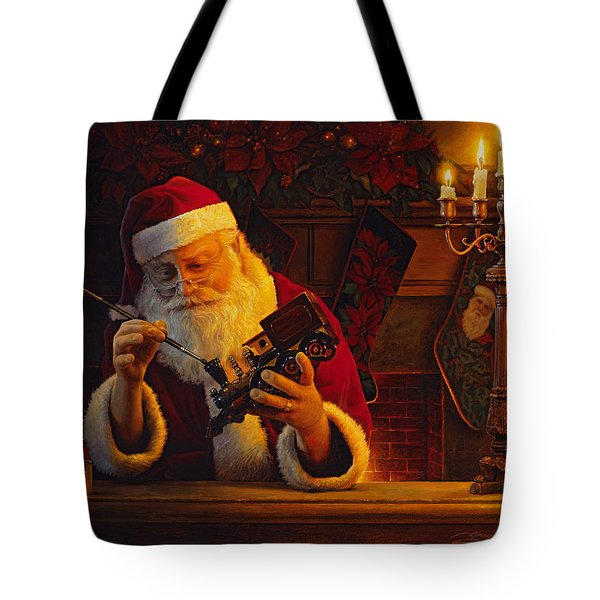 Tote Bag featuring the painting Christmas Eve Touch Up by Greg Olsen
