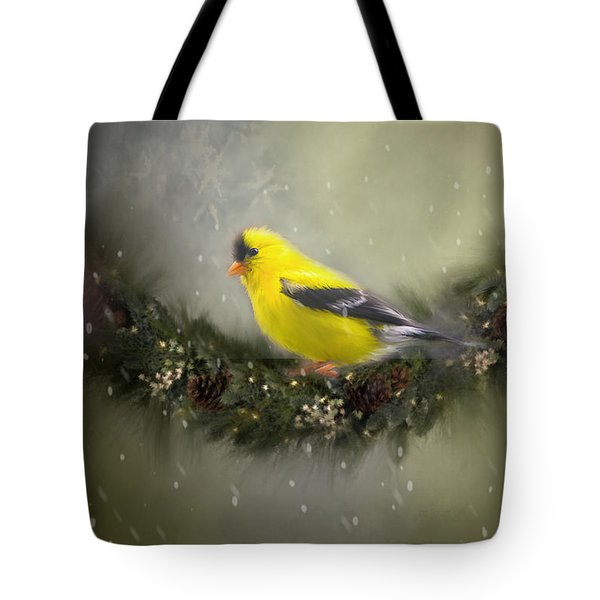 Christmas Finch Tote Bag by Mary Timman