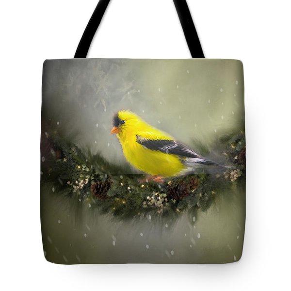 Christmas Finch Tote Bag