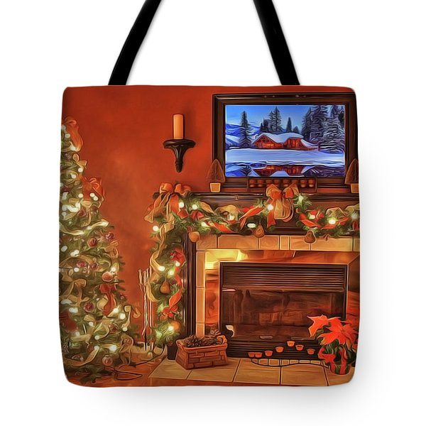 Tote Bag featuring the painting Christmas Fire by Harry Warrick