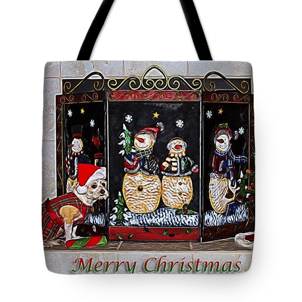 Tote Bag featuring the photograph Christmas Fireplace Puppy by Photography by Laura Lee