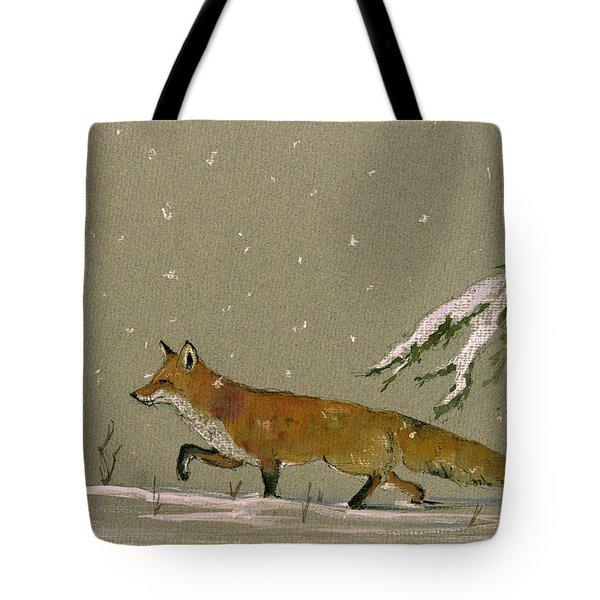 Christmas Fox Snow Tote Bag
