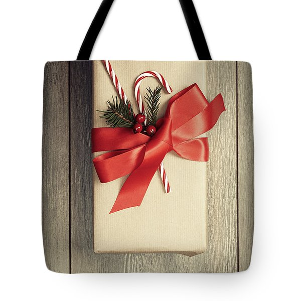 Christmas Gift With Candy Canes Tote Bag