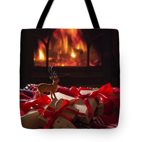 Christmas Gifts By The Fire Tote Bag