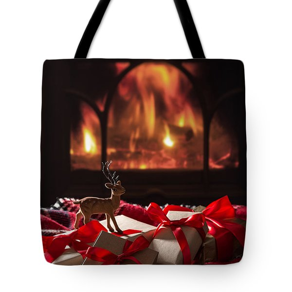 Christmas Gifts By The Fireplace Tote Bag