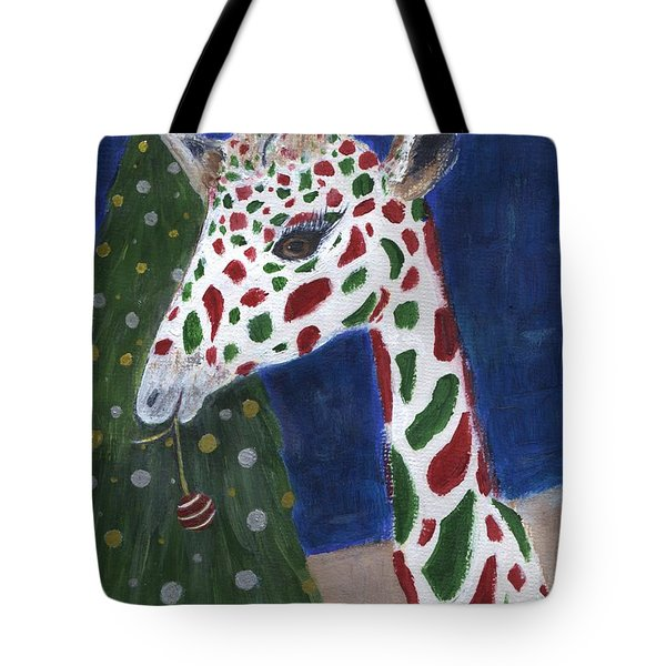 Tote Bag featuring the painting Christmas Giraffe by Jamie Frier