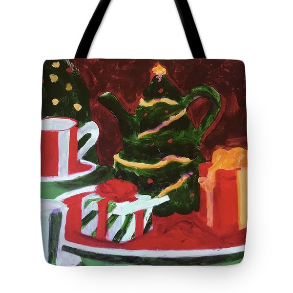 Tote Bag featuring the painting Christmas Holiday by Donald J Ryker III
