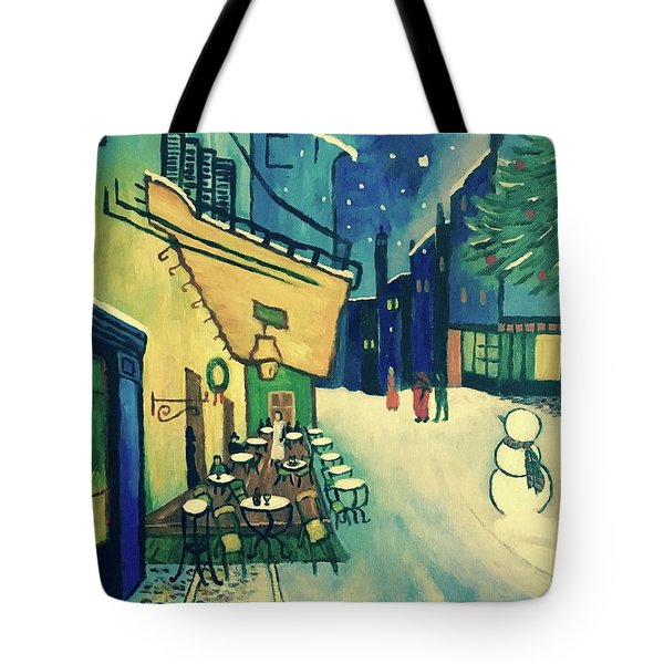 Christmas Homage To Vangogh Tote Bag by Victoria Lakes