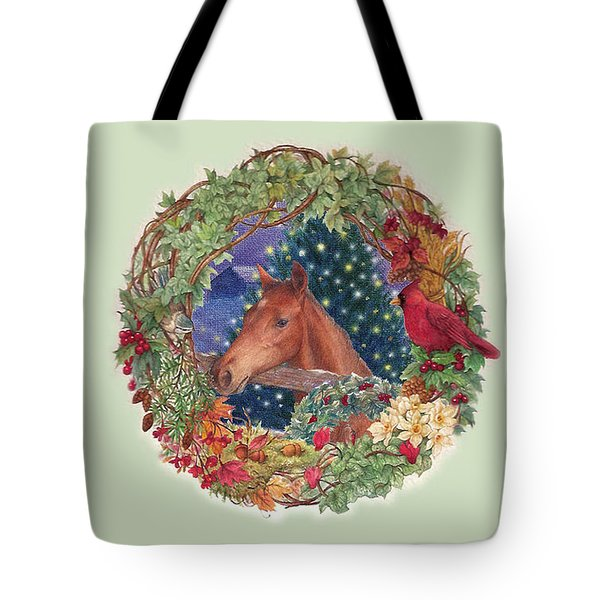 Christmas Horse And Holiday Wreath Tote Bag