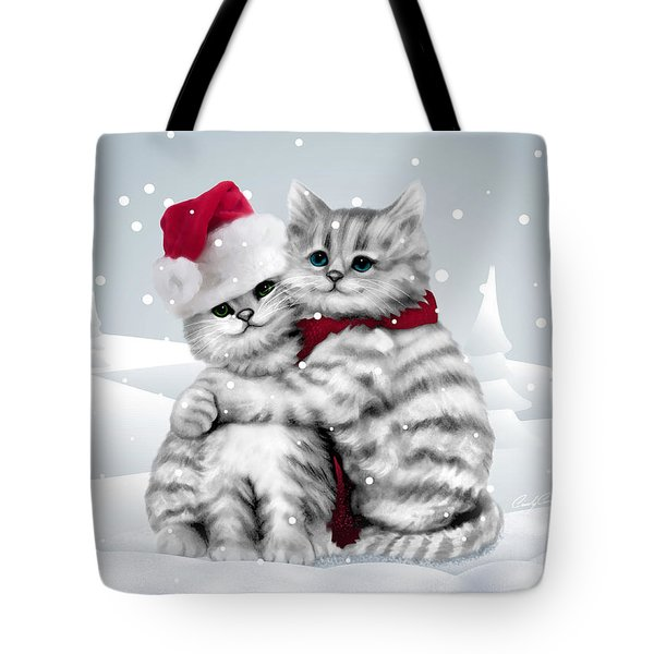 Tote Bag featuring the drawing Christmas Hug by Cindy Anderson