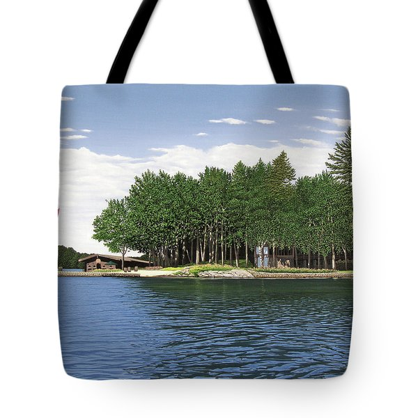 Tote Bag featuring the painting Christmas Island Muskoka by Kenneth M Kirsch