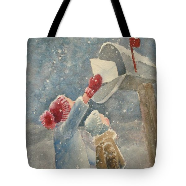 Christmas Letter Tote Bag by Marilyn Jacobson