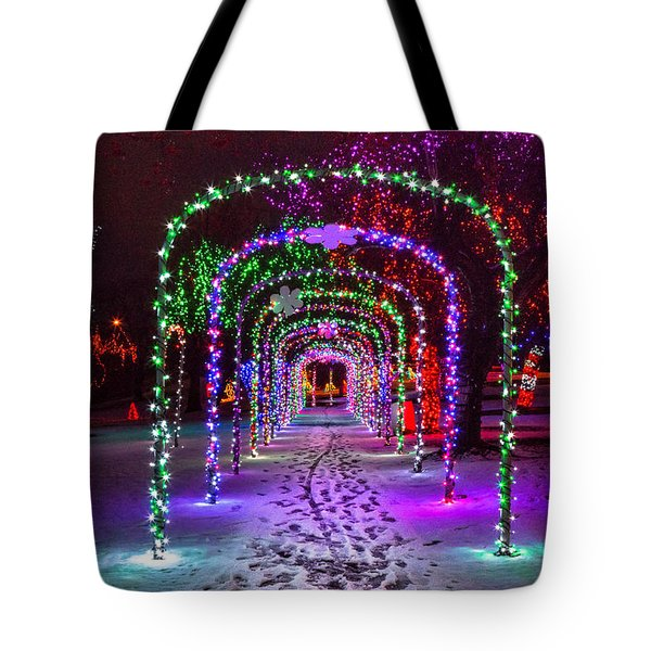 Christmas Light Arches Tote Bag